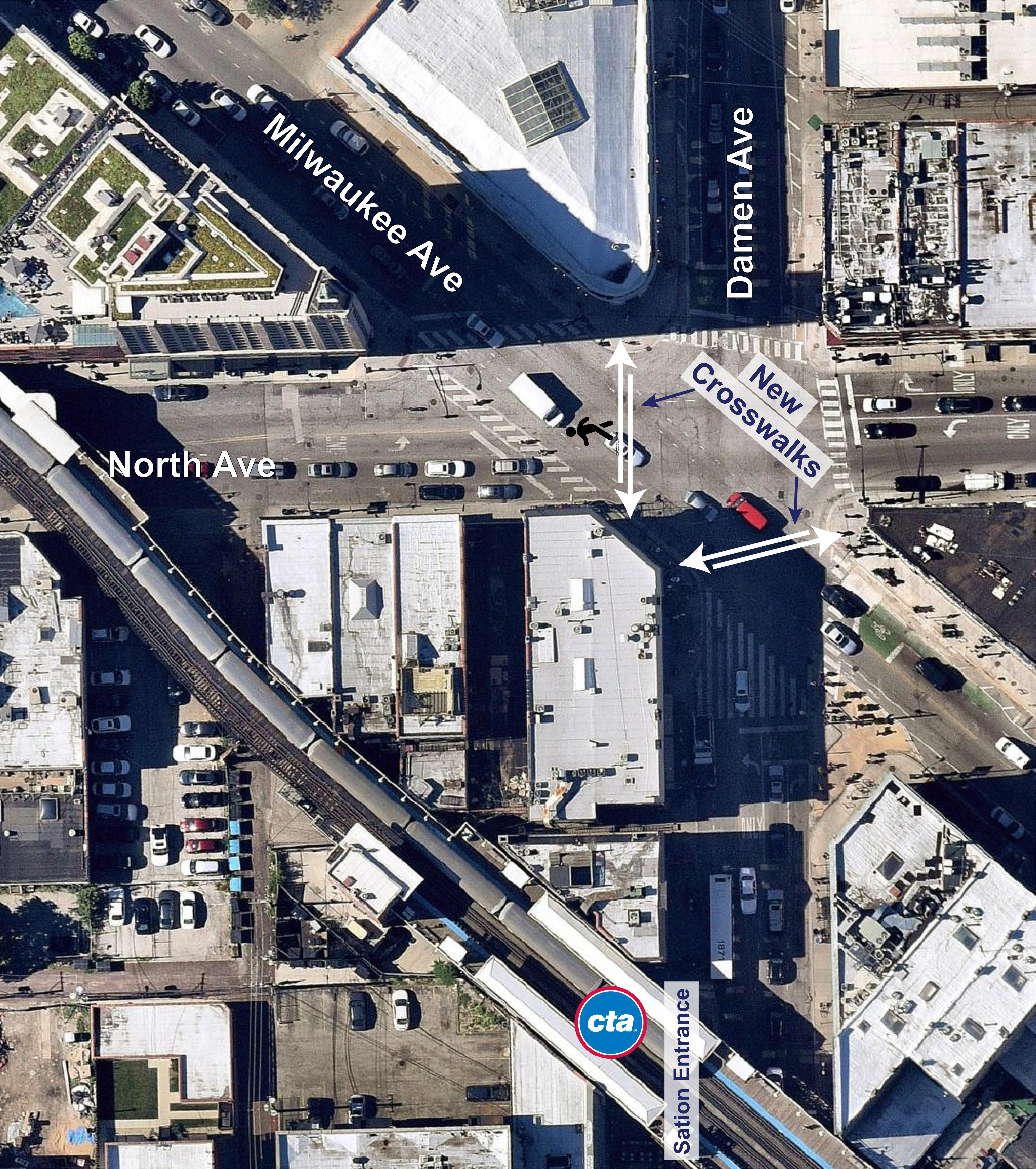Aerial labeled image of intersection.