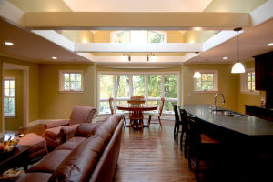 Integrated sky lights brighten up the space