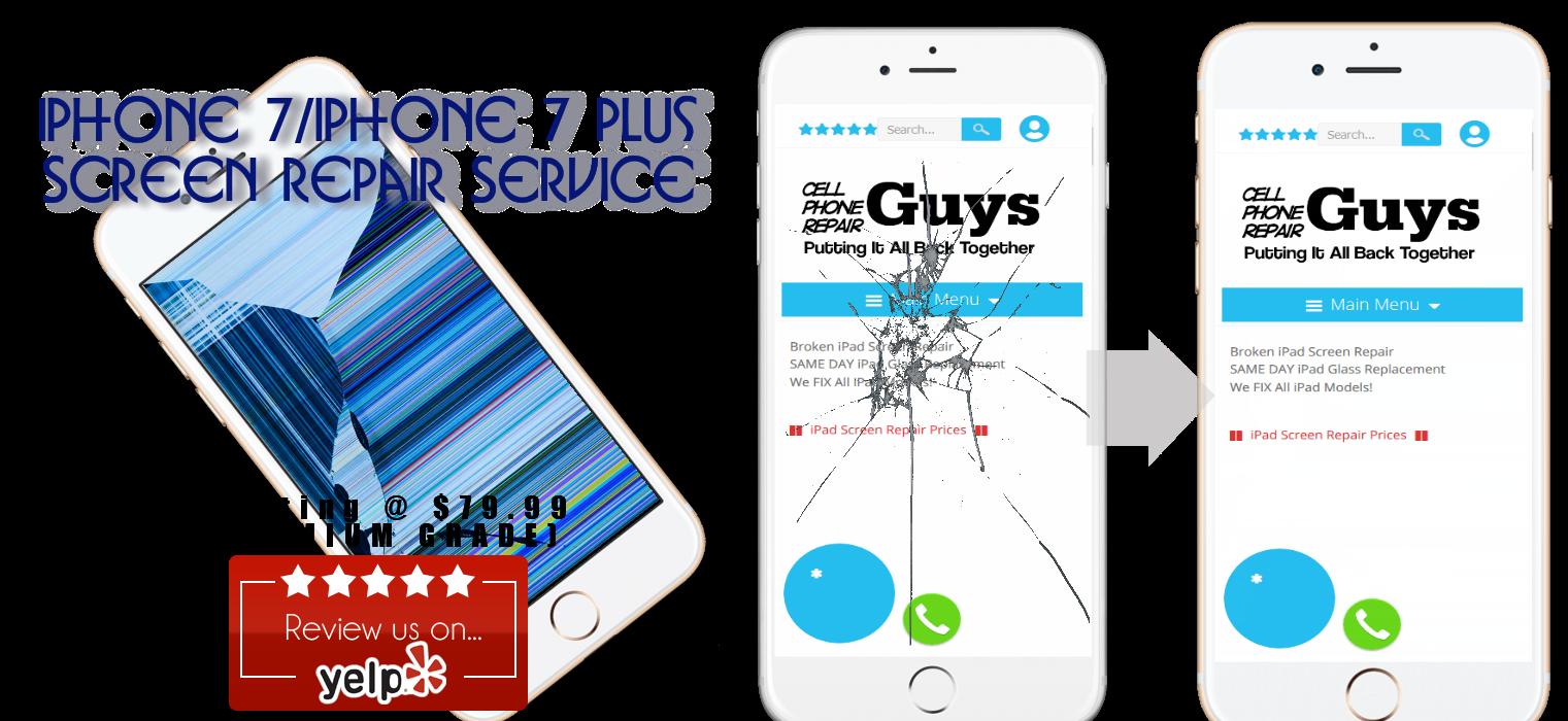 Frisco iPhone 7 and iPhone 7 plus screen repair service.