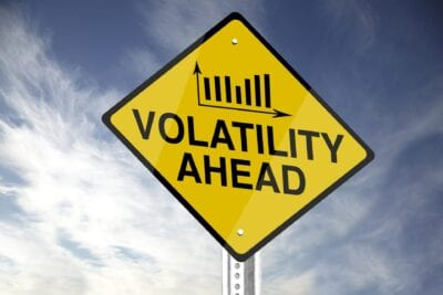"""Volatility Ahead"" road sign."