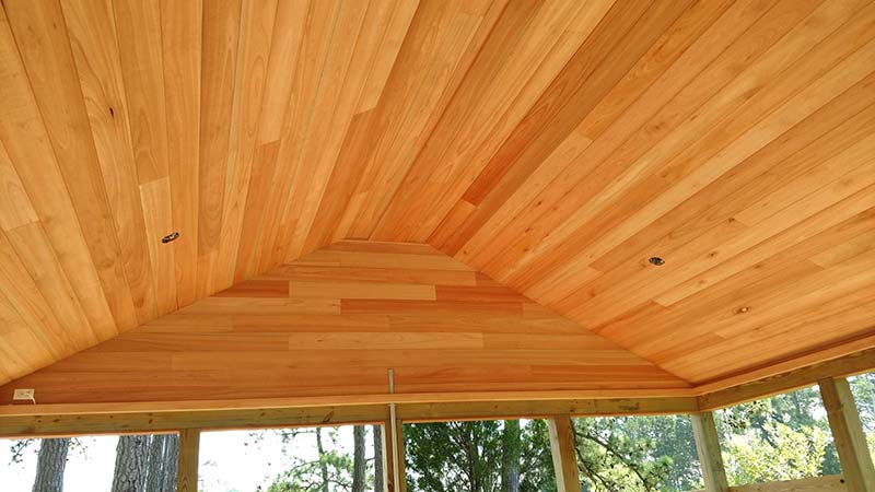 boat house pavillion red grandis ceiling