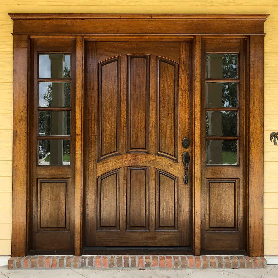 Custom mahogany door and sidelights