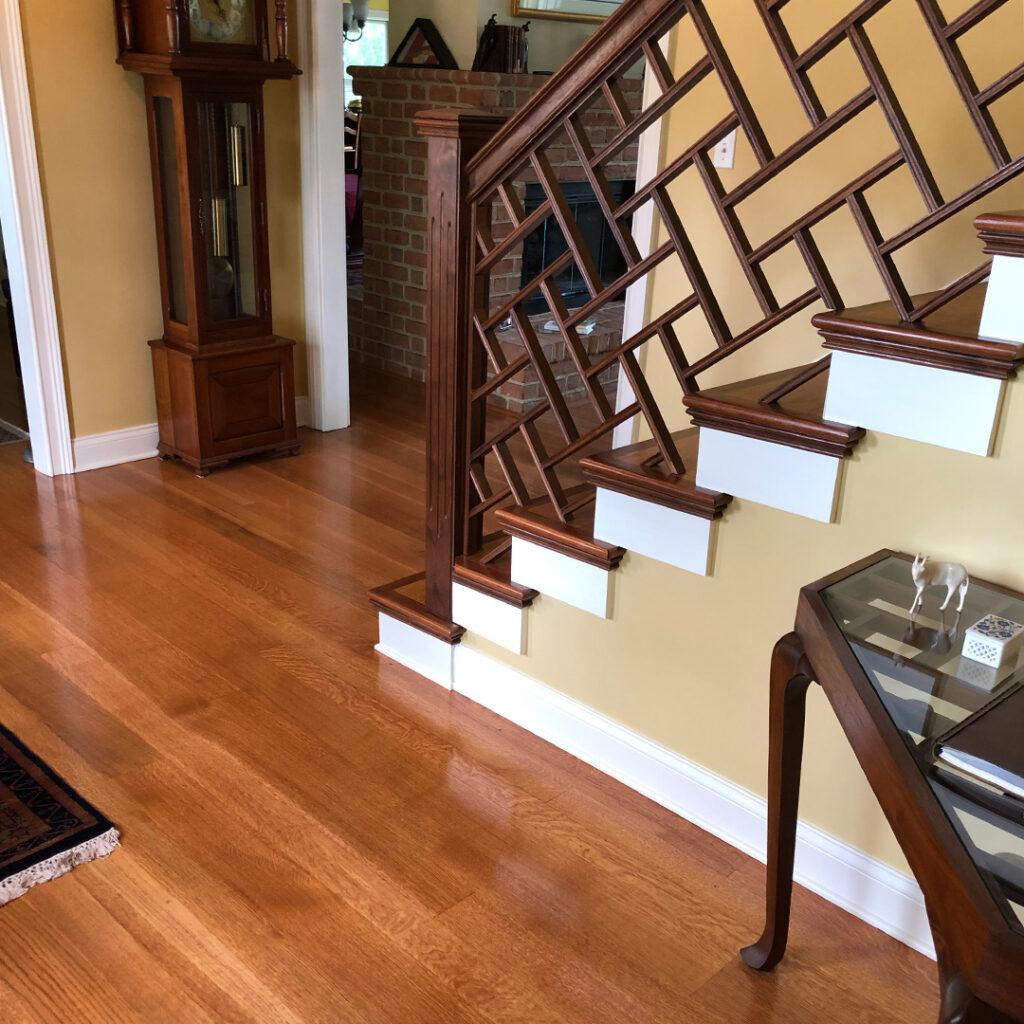 Custom wood flooring and railing
