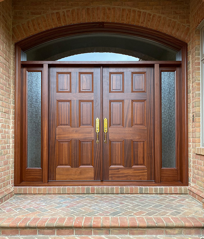 solid mahogany door transom sidelights