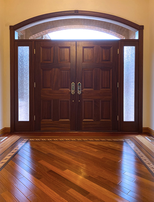 solid mahogany door transom sidelights interior