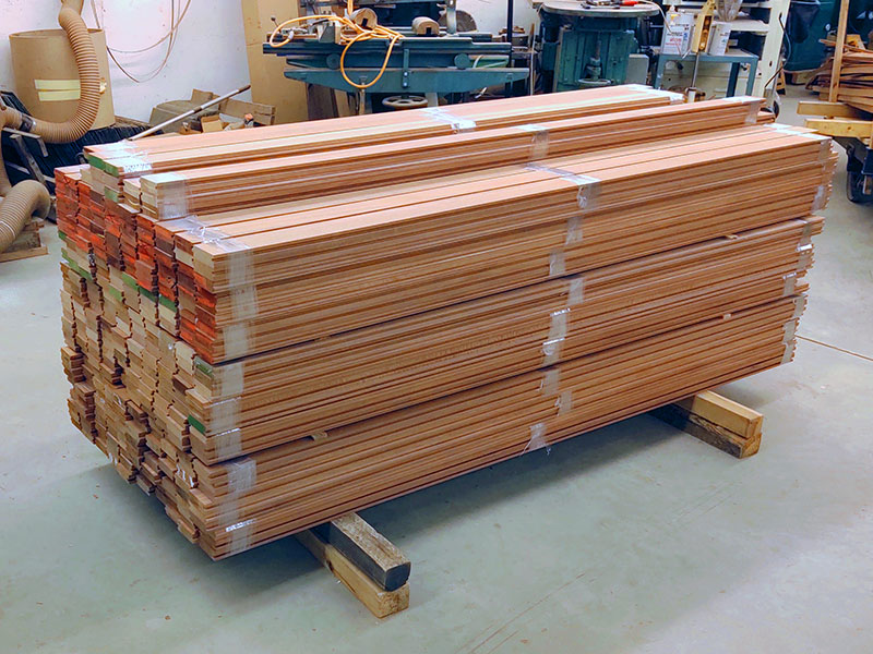 Mahogany tongue and groove flooring ready for shipping