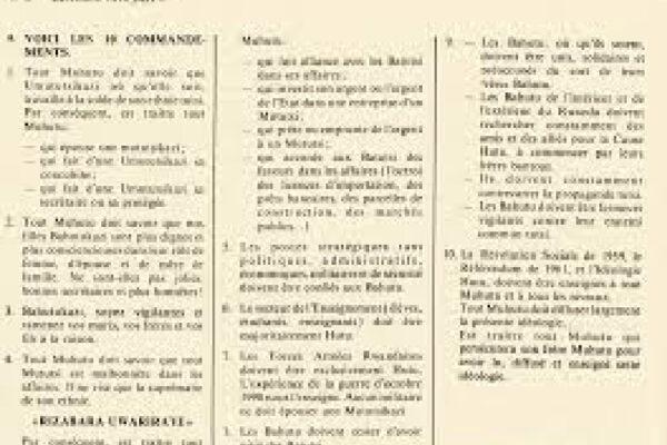 Les dix Commandements du Hutu