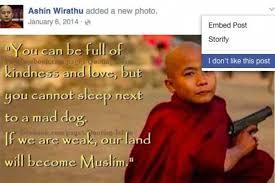 Photo partagé sur Facebook par Ashin Wirathu, un moine bouddhiste birmane, incitant à la haine contre les musulmans.