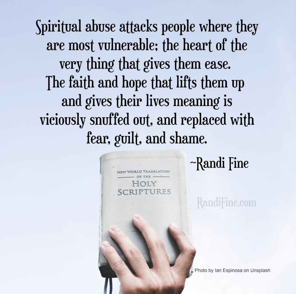 Image of hand holding Bible with quote about spiritual abuse.