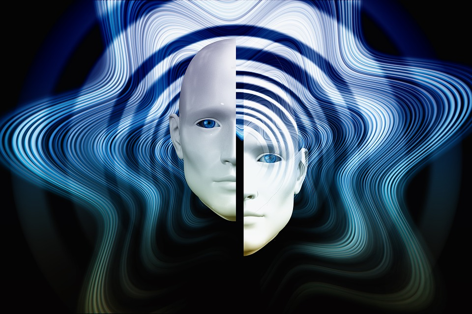 Two images of half heads side by side representing psychological splitting