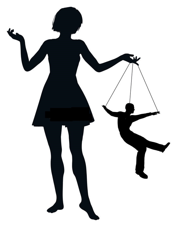 Black silhouette of narcissistic mother and her accomplice