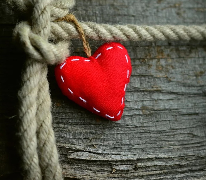 Rope tied in knot around tree with red hand-stitched felt heart represents the knots prayer