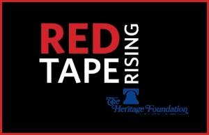 Red tape rising-w Heritage logo