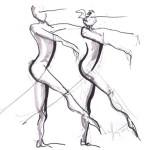 Croquis encre - répétition de danse des BJM 2013