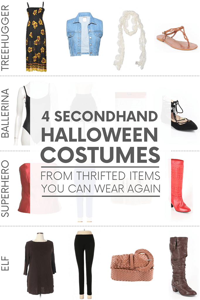 """Various women's clothing and accessories on a white background with the words """"4 secondhand halloween costumes from thrifted items you can wear again."""""""