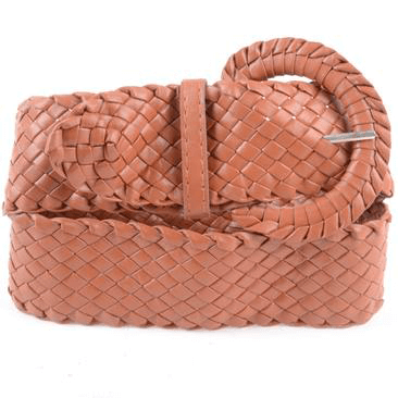 Brown woven women's belt on a white background.