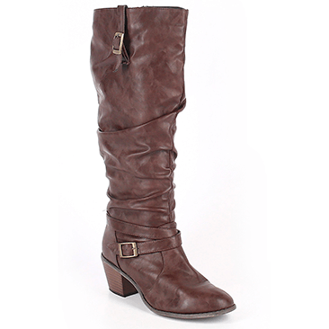 Brown women's boots on a white background.