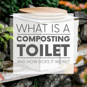 """A white compost toilet in the forest with the words """"what is a composting toilet and how does it work?"""" Click to visit post."""