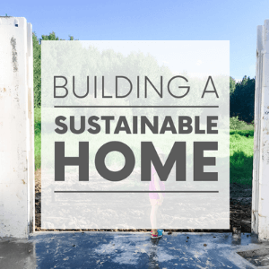 """A little girl standing in an under-construction basement with the words """"building a sustainable home."""" Click to visit post."""