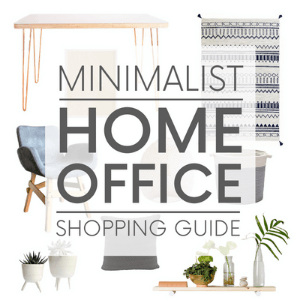 """Various minimalist interior design items - such as hairpin-legged desk and a floating wood shelf, on a white background with the words """"minimalist home office decor."""" Click to visit post."""