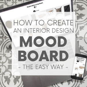 """A laptop and smart phone sitting on a tile floor with the words """"how to create an interior design mood board the easy way."""" click to view post."""