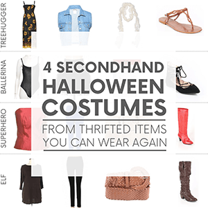 """Various women's clothing and accessories on a white background with the words """"4 secondhand halloween costumes from thrifted items you can wear again."""" Click to visit post."""