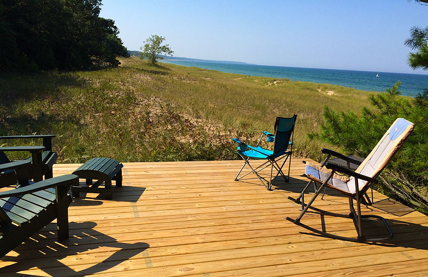 beachfront cottage deck with lake michigan views