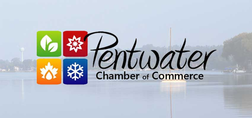 pentwater chamber logo with pentwater lake background