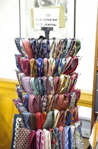An cornucopia of ties in every imaginable pattern and fabric can be found for the low low cost of $1 in the Dean of Student's office.   All proceeds go to the Mission Collections.