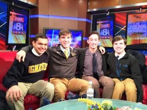 From left to right: Mitchell Pallaki '16, Brian Koehler '15, Sam Royer '15, Matt Koehler '15