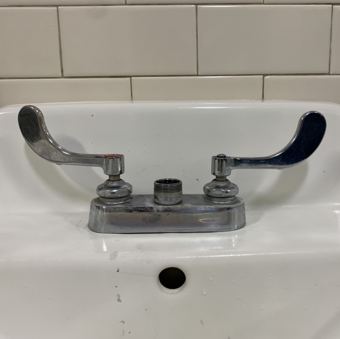 Sink with no faucet.