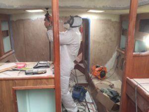 Istvan getting some work done inside Puffin