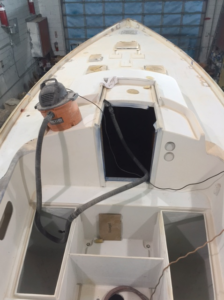 Puffin prepped for deck paint job