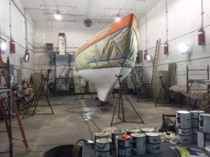 Puffin prepped for the bottom paint job