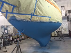 Blue antifouling completed on Puffin's bottom