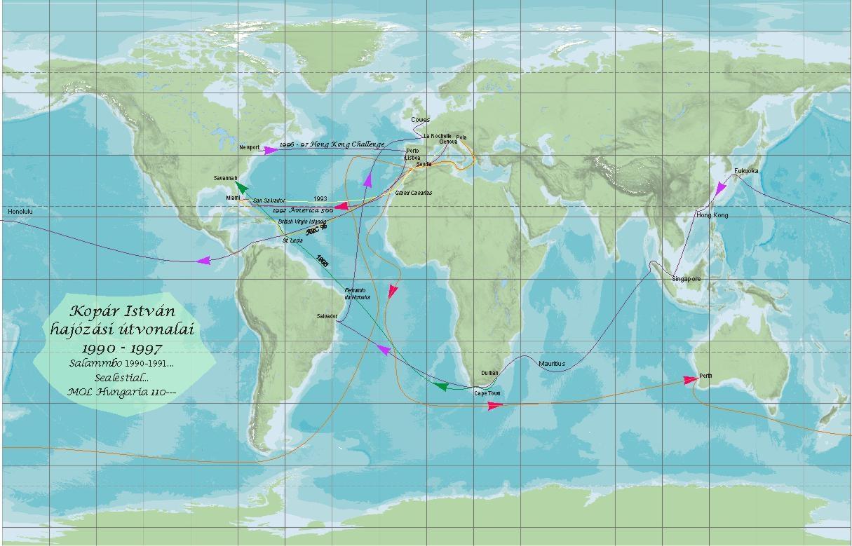 Istvan Kopar's offshore sailing world map