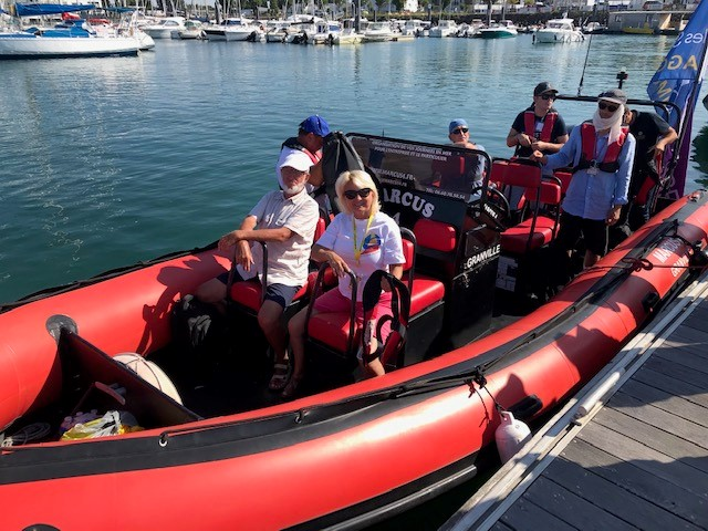 Vili & Eva in the RIB, heading to the race start