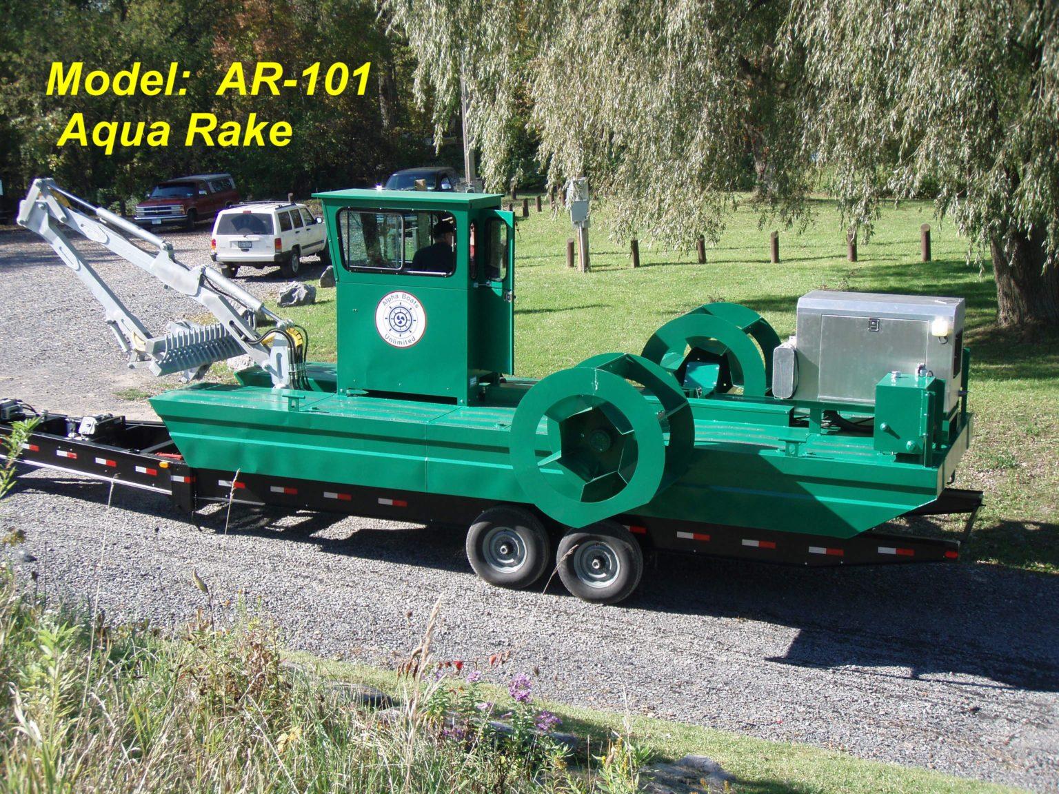 Alphaboats AR101 Aqua Rake on Alphaboats Transport Trailer