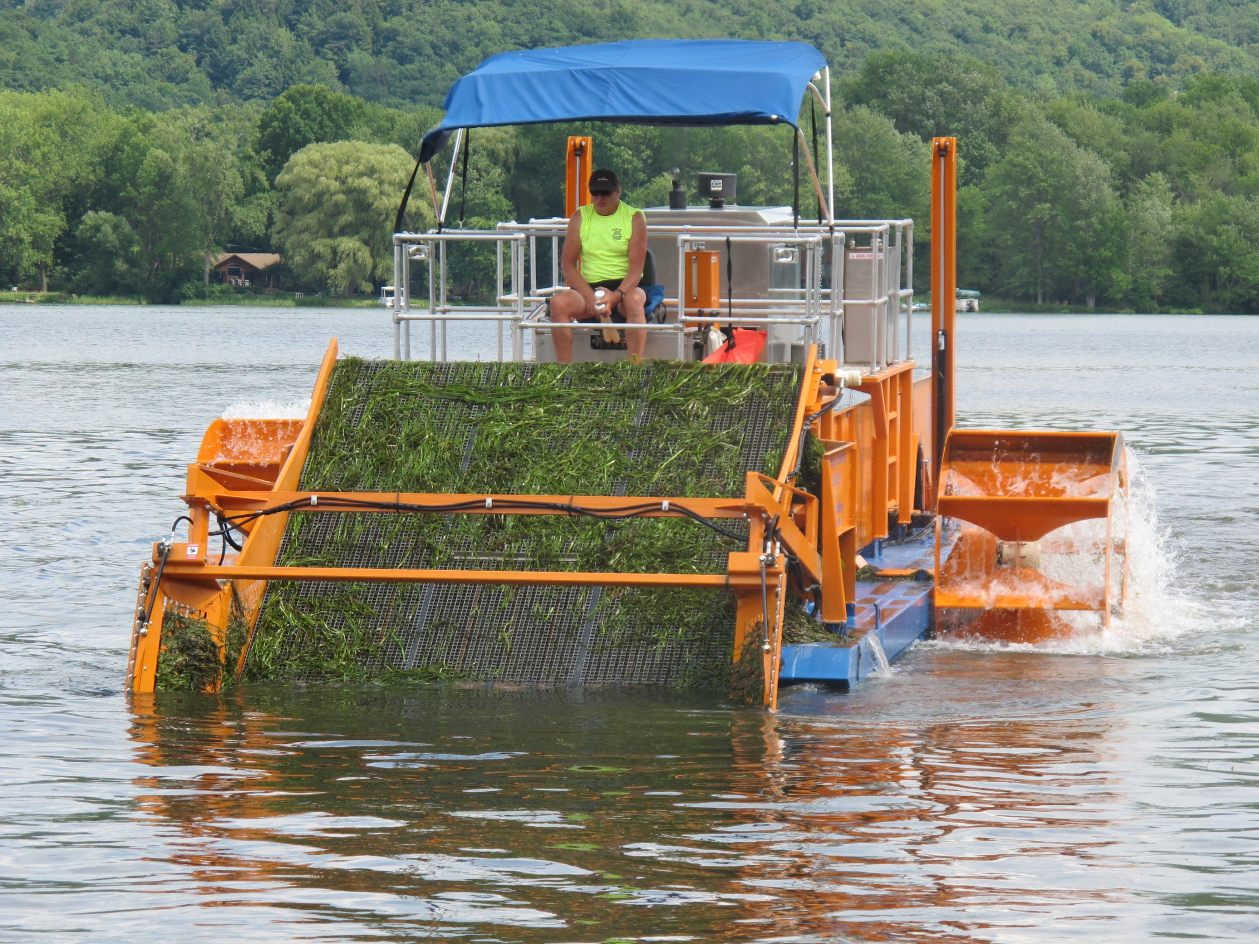 Alphaboats FX-11 Waterweed Harvester on the Job in New Yorks Finger Lakes