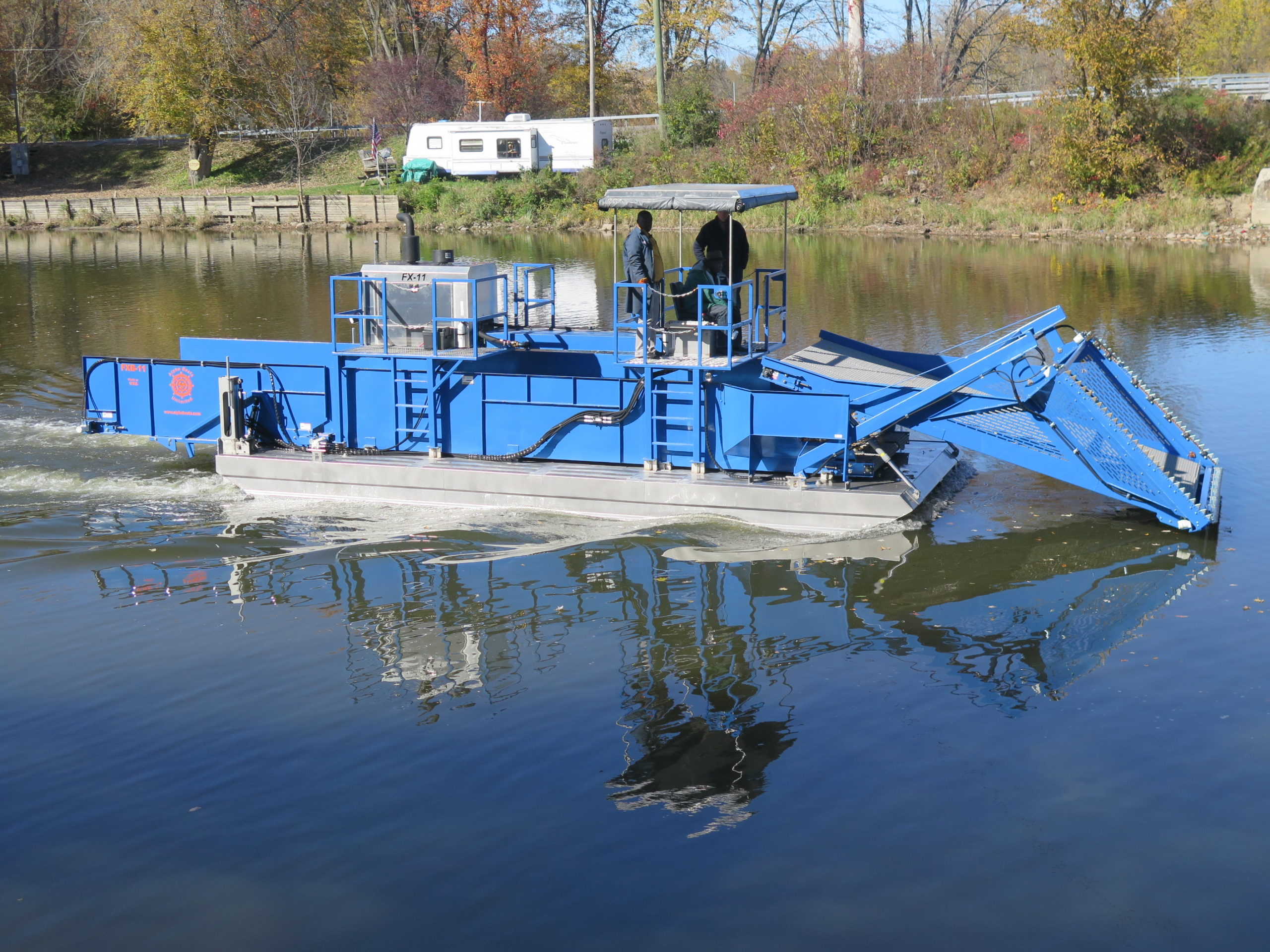 Alphaboats FX-11 Waterweed Harvester working on New York's Erie Canal