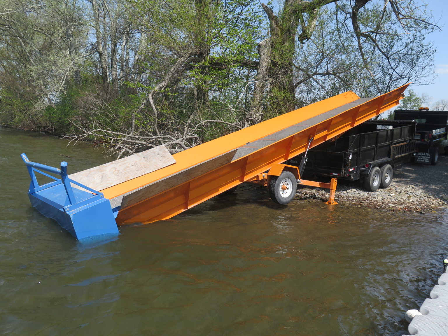 Alphaboats SL6036 Shore Conveyor ready to load aquatic weeds