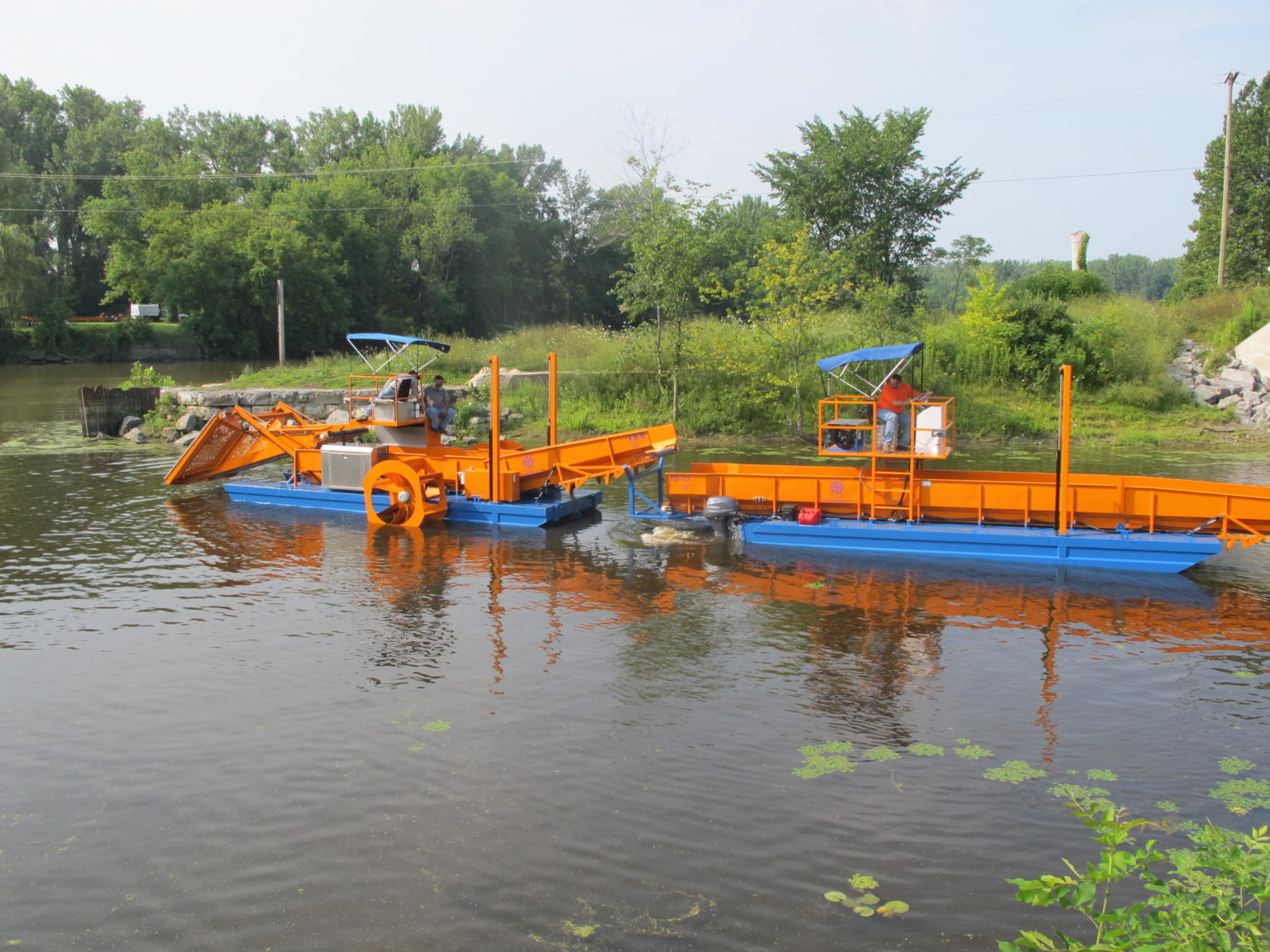 Alphaboats TS10 Transport Barge and Alphaboats FX6 Aquatic Weed Harvester