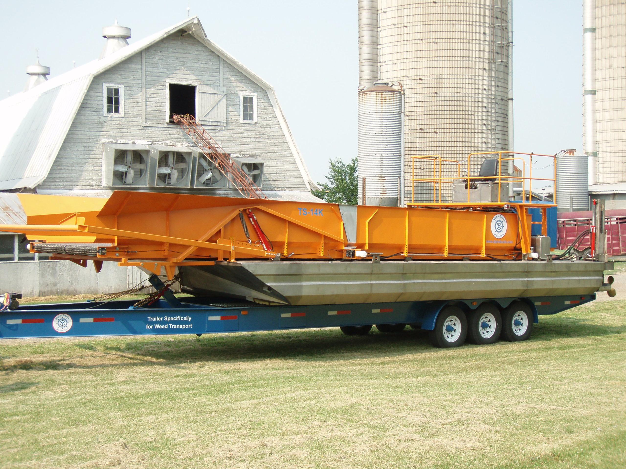 Alphaboats TS14 Transport Barge on Contractors Alphaboats Trailer