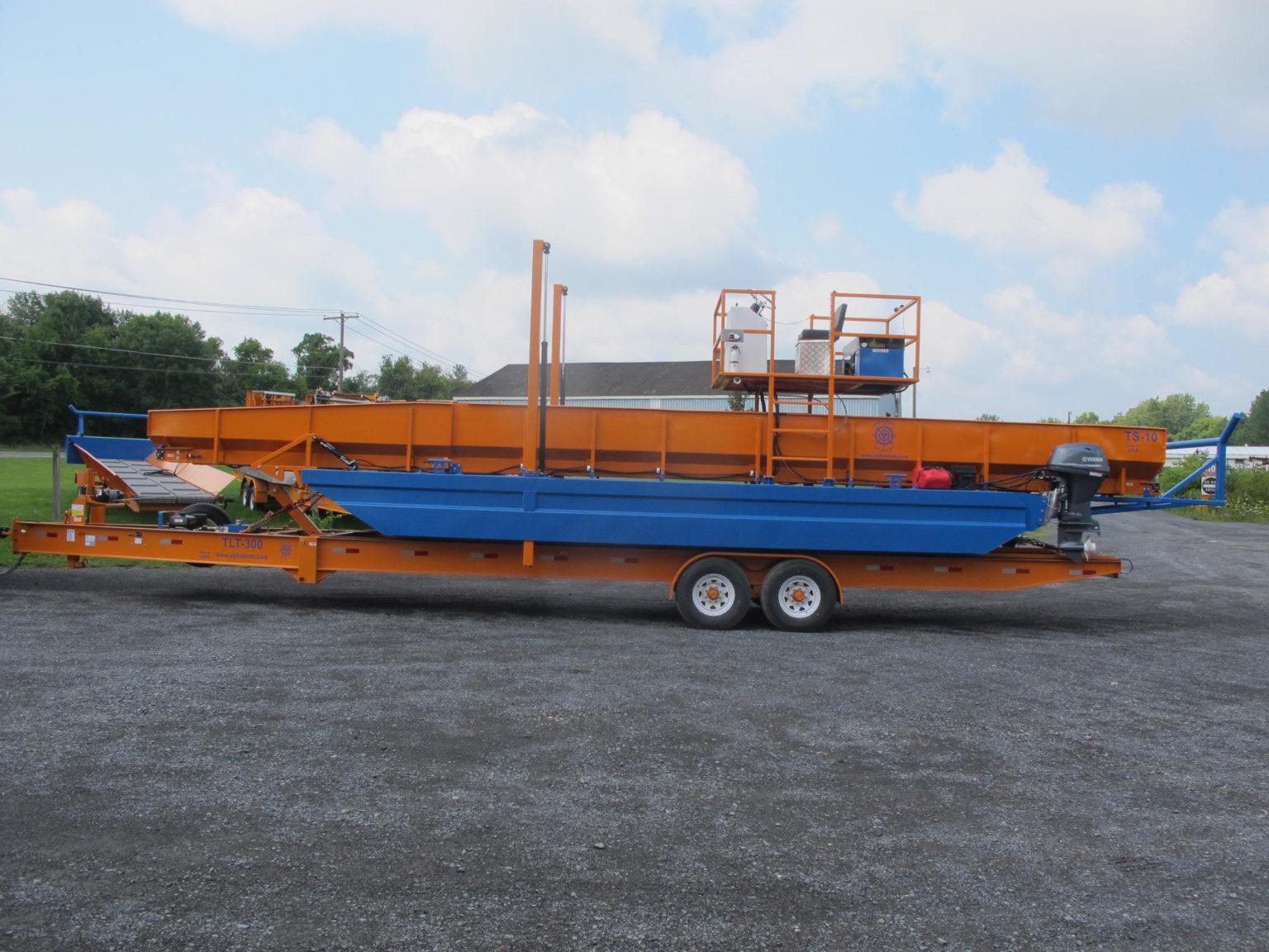 Alphaboats TS18 Transport Barge on transport trailer