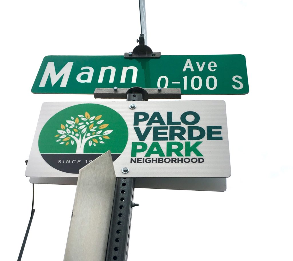 Palo Verde Park Neighborhood sign at the intersection of Mann and Broadway