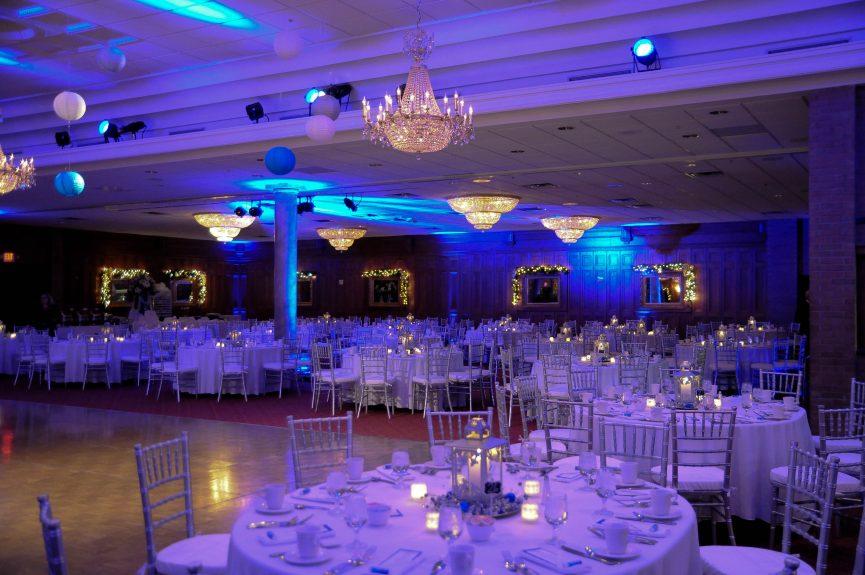 reception hall set up for wedding