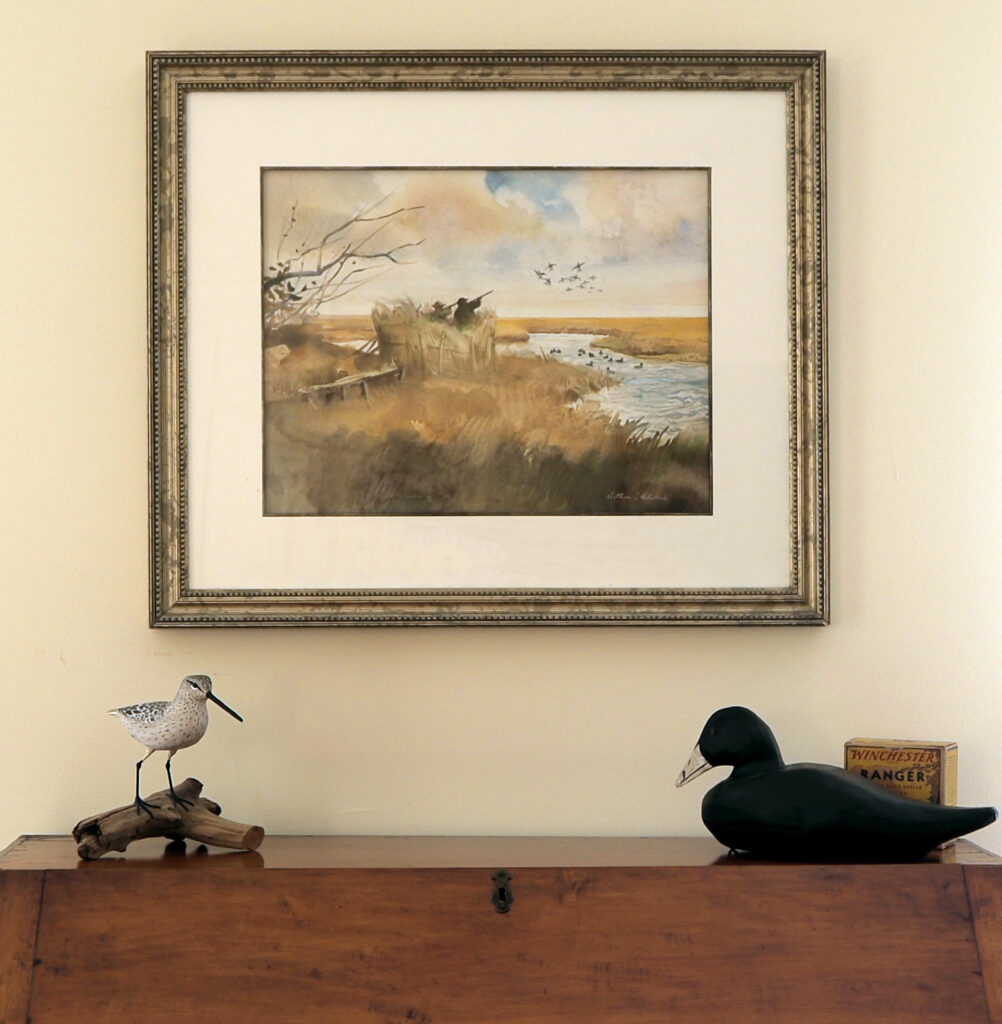 Arthur Shilstone Duck Hunting Painting on Gallery Wall in a Curated Art Collection