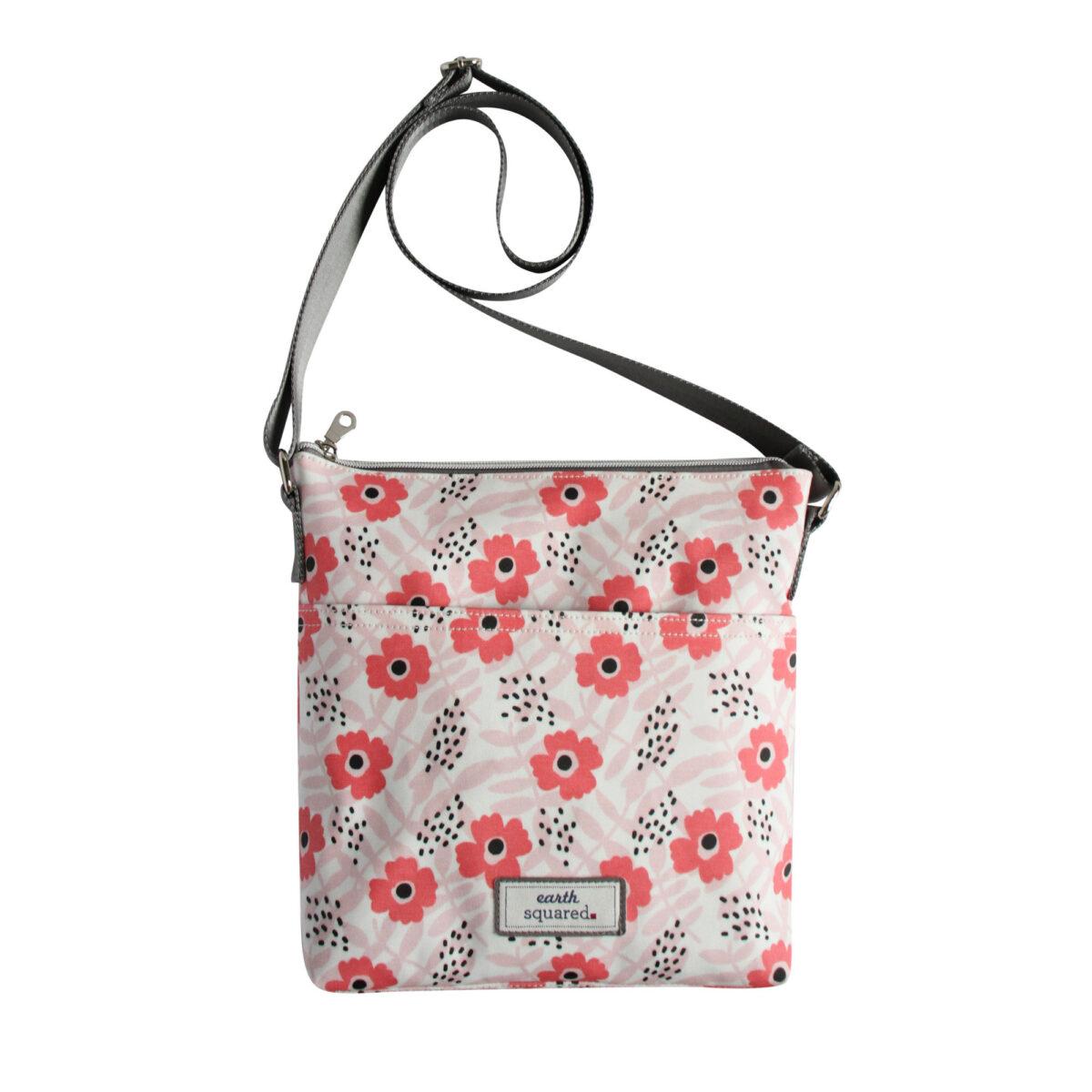 Pink Flower Oil Cloth Messenger Bag