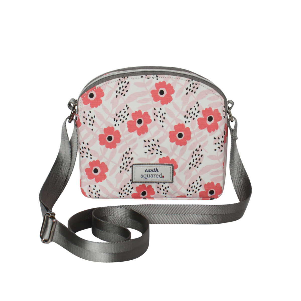 Pink Flower Oil Cloth Half Moon Bag