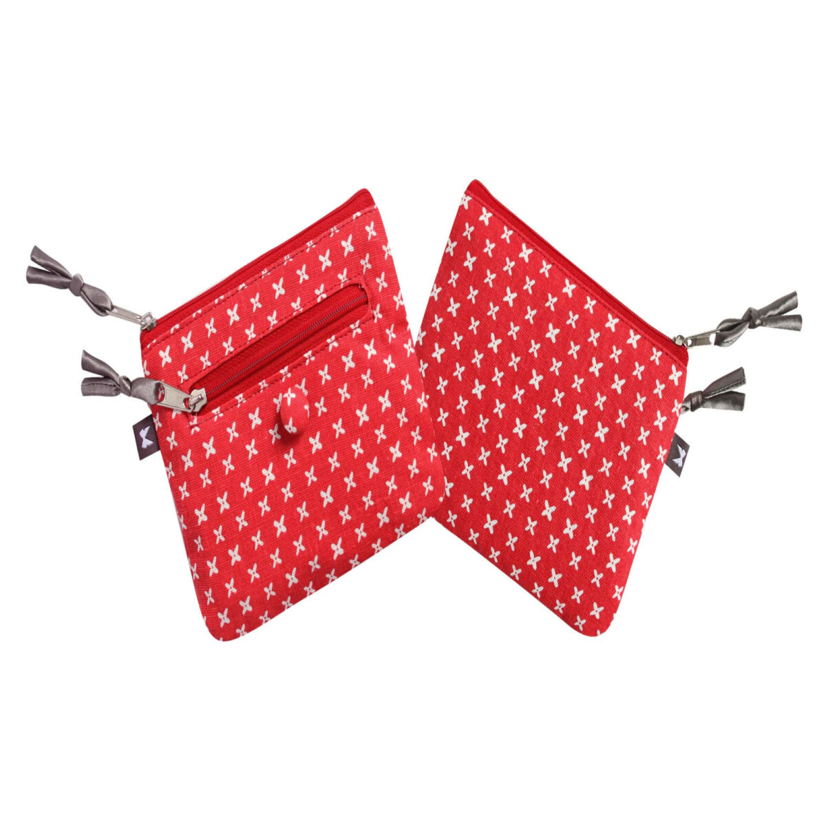 Red/White Spring Linen Emily Purse
